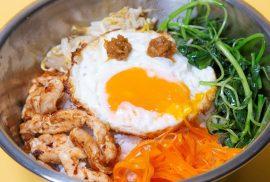 bibimbap recipe with roasted tomato & shiitake sauce